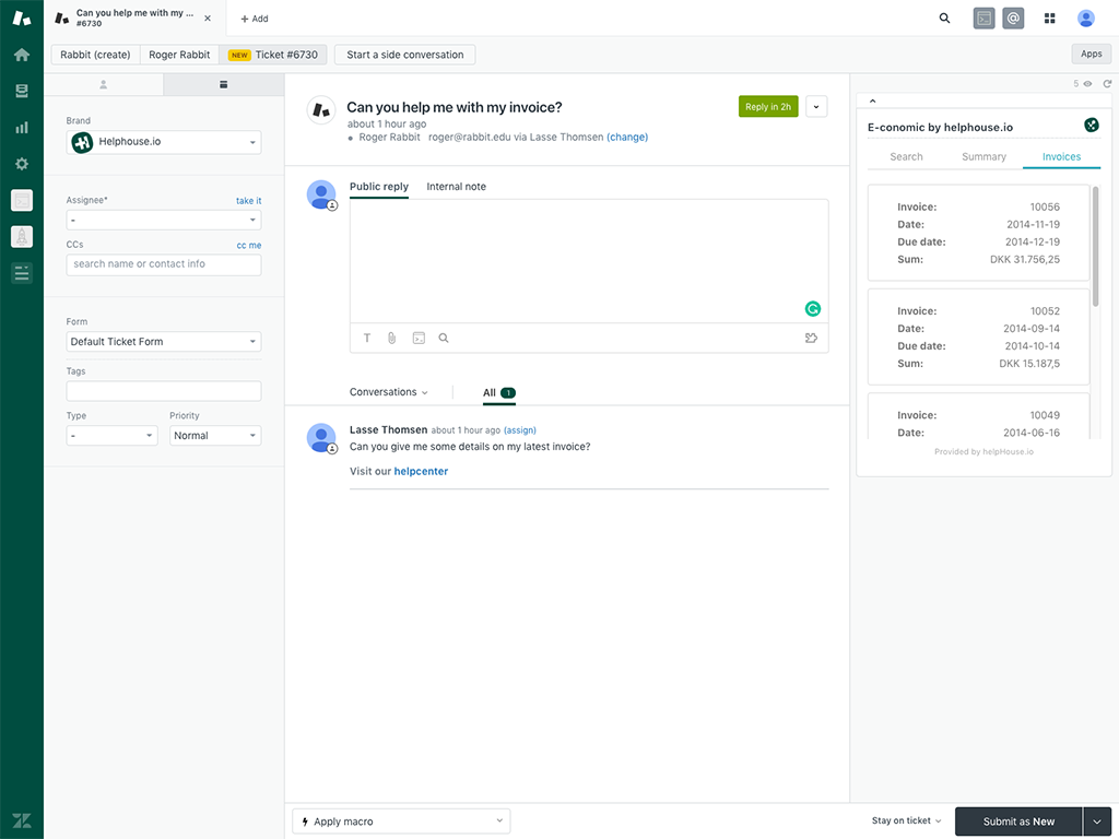 e-conomic_integration_til_Zendesk_screenshot1_helphouseio